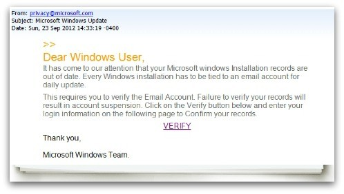 Fake Microsoft Windows Update emails try to steal your Gmail, Yahoo