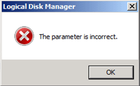 Extend Disk Parameter Incorrect