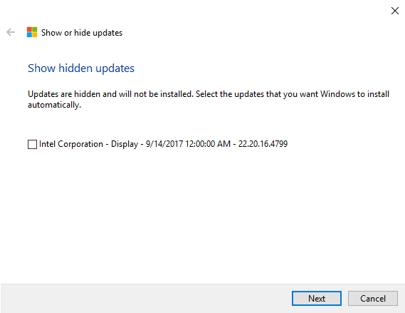 windows 10 show hidden updates