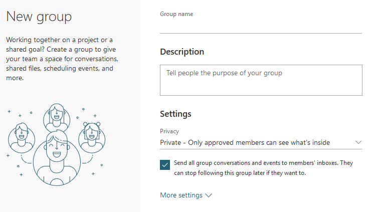 Office 365 Outlook New Group